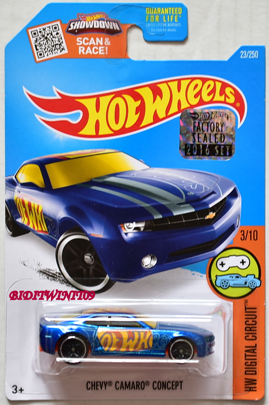 HOT WHEELS 2016 HW DIGITAL CIRCUIT CHEVY CAMARO CONCEPT BLUE FACTORY SEALED