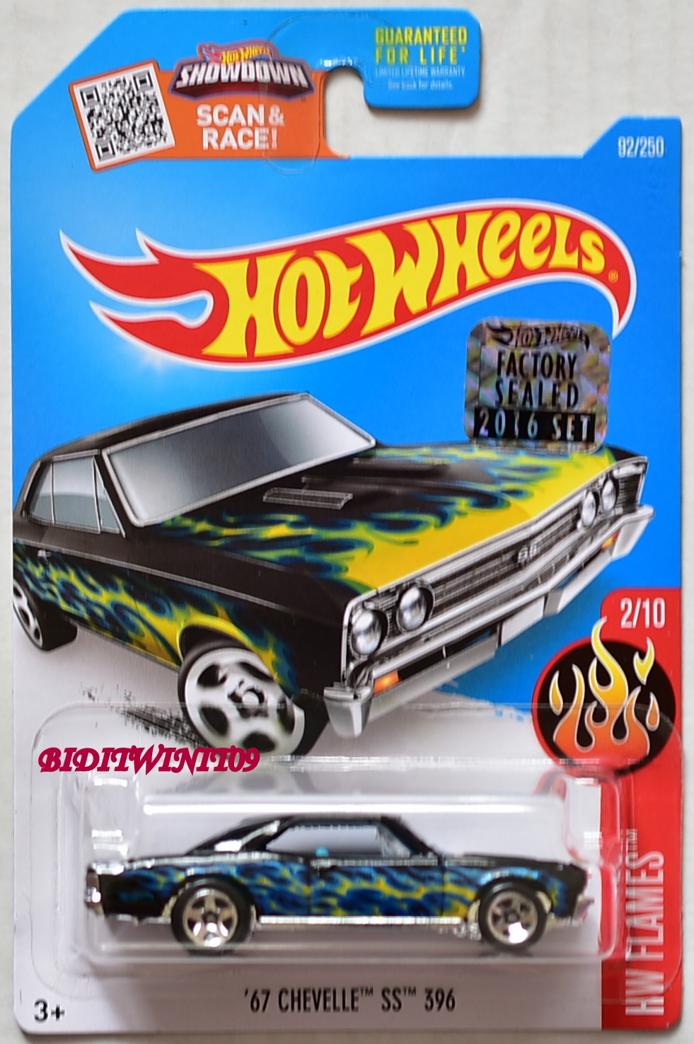 HOT WHEELS 2016 HW FLAMES '67 CHEVELLE SS 396 #2/10 BLACK FACTORY SEALED