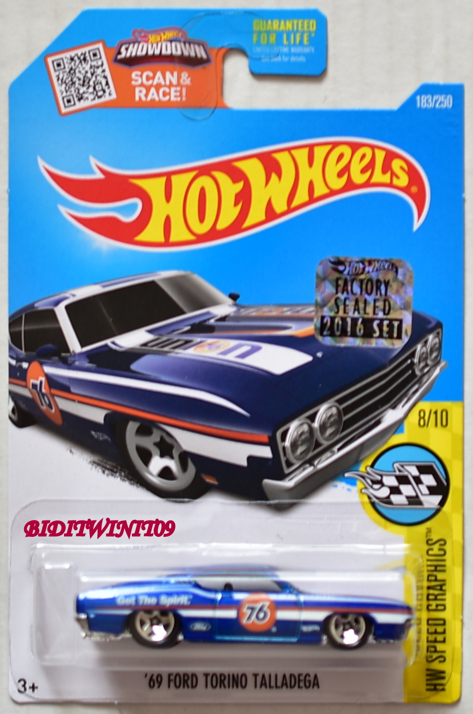 HOT WHEELS 2016 SPEED GRAPHICS '69 FORD TORINO TALLADEGA BLUE FACTORY SEALED