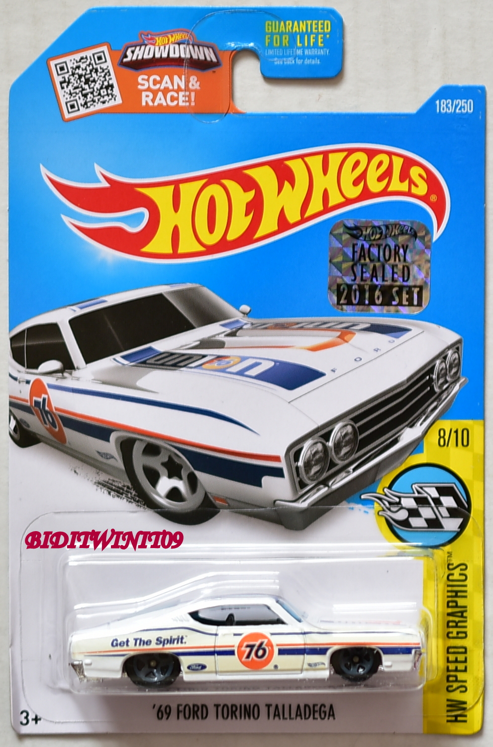 HOT WHEELS 2016 SPEED GRAPHICS '69 FORD TORINO TALLADEGA WHITE FACTORY SEALED