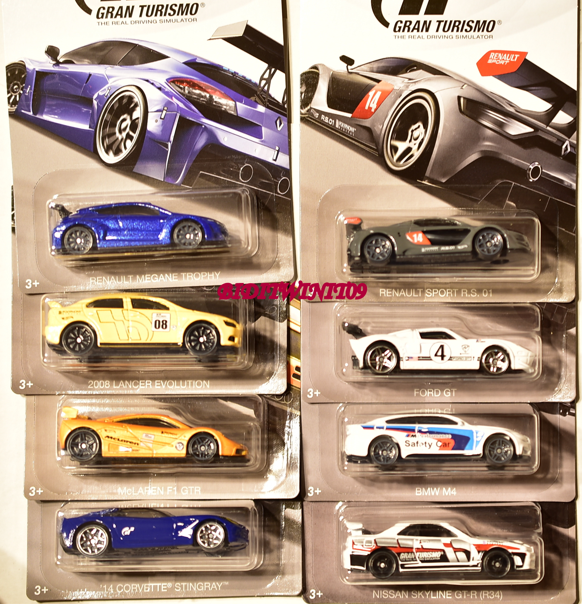 HOT WHEELS 2018 GRAN TURISMO SET OF 8 NISSAN LANCER CORVETTE FORD RENAULT