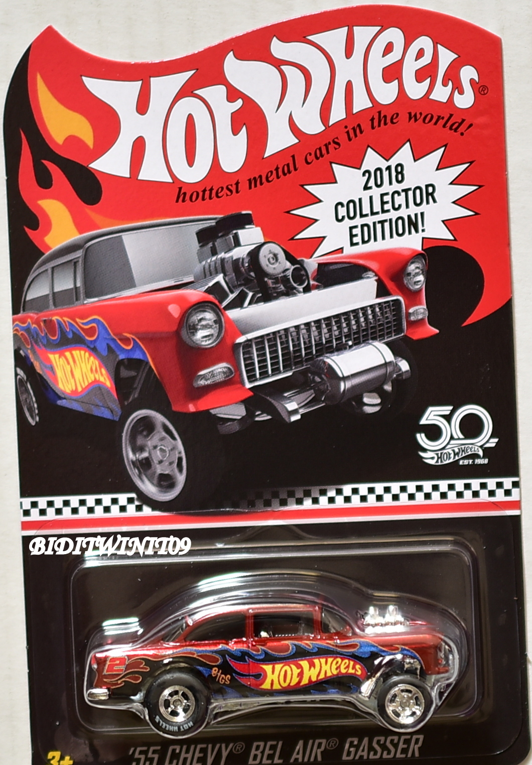 HOT WHEELS 2018 50 YEARS '55 CHEVY BEL AIR GASSER KMART MAIL IN E+