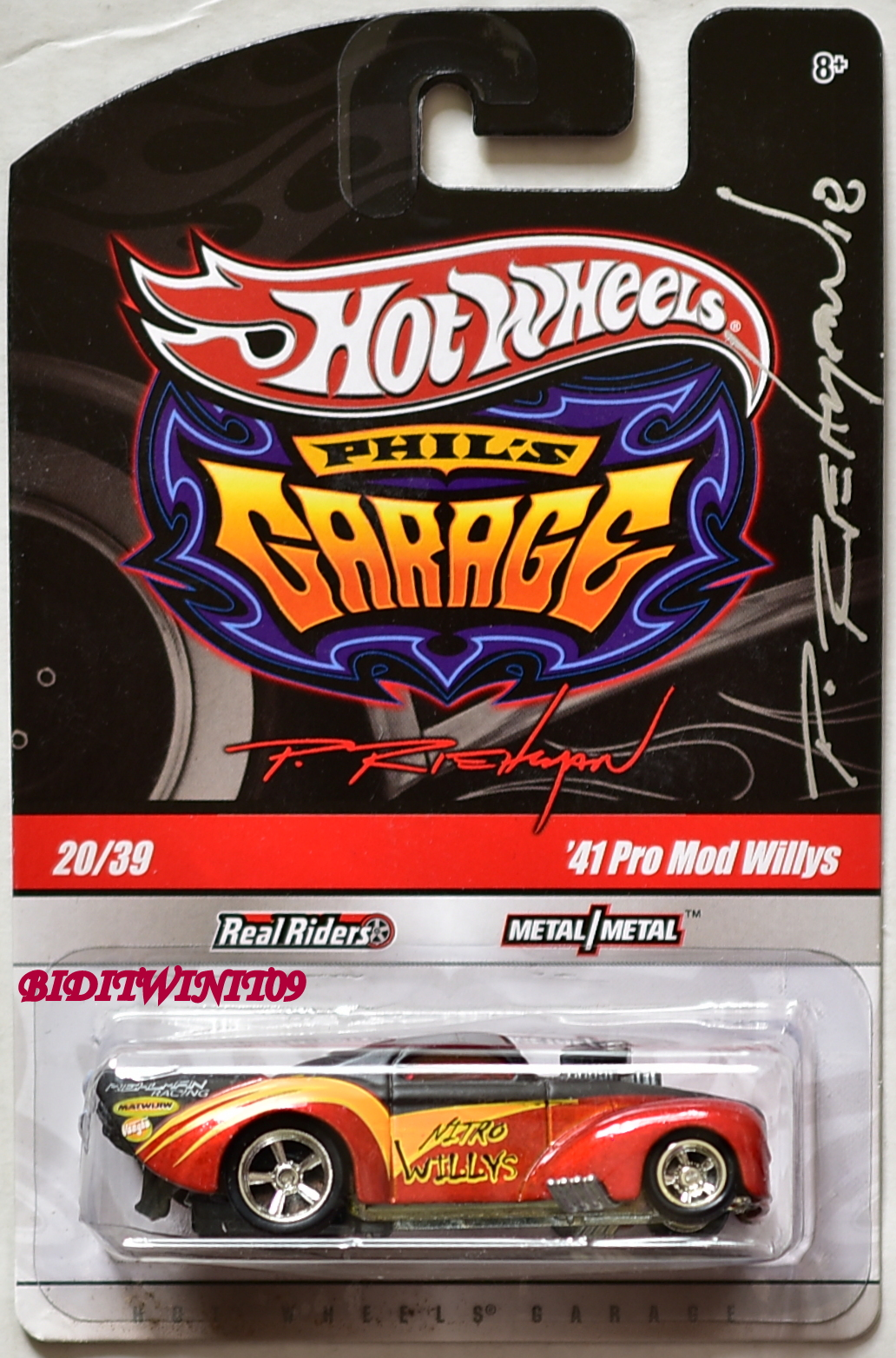 HOT WHEELS PHIL'S GARAGE '41 PRO MOD WILLYS SINGED BY PHILIP RIEHLMAN E+