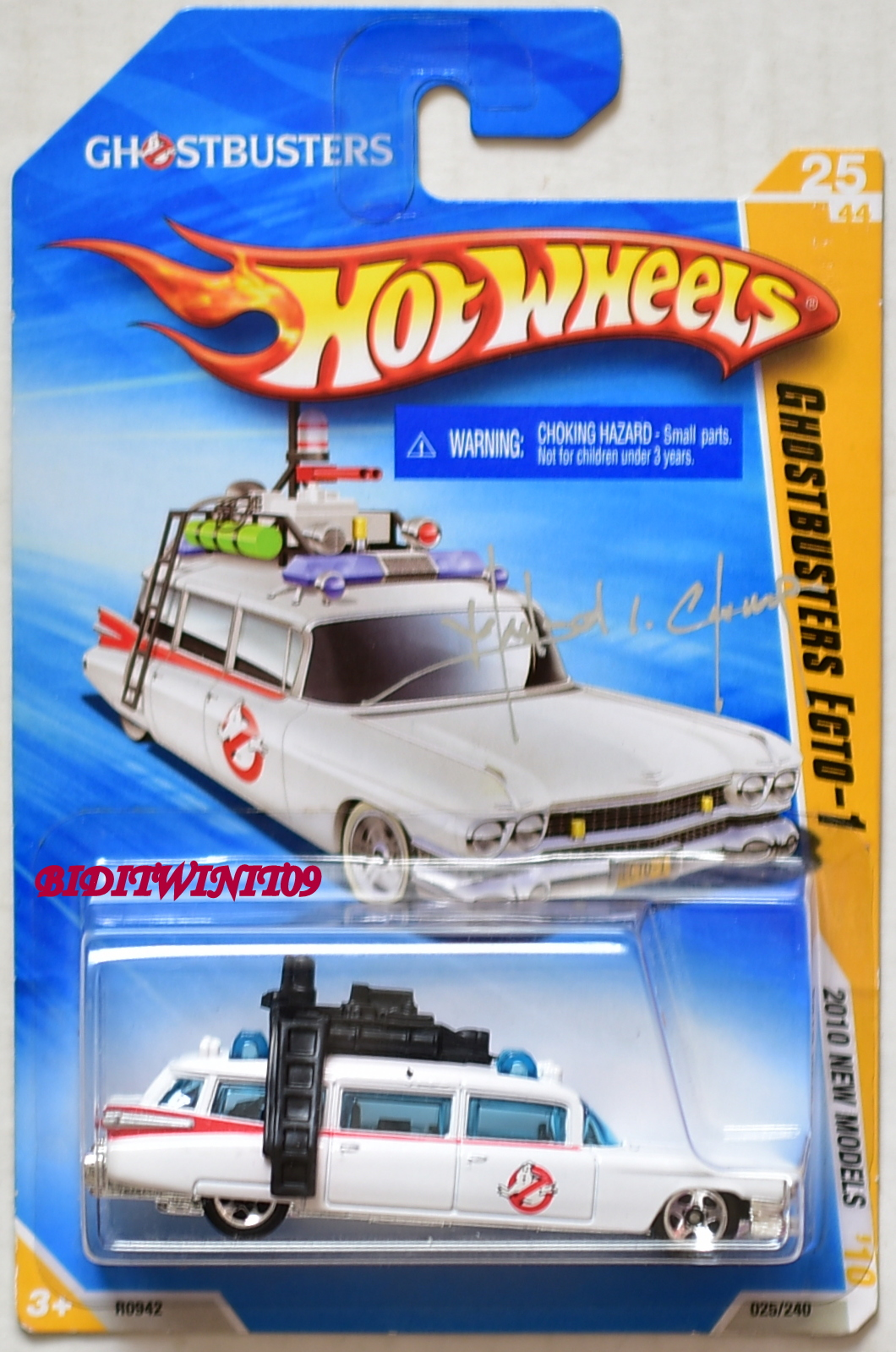 HOT WHEELS 2010 NEW MODELS GHOSTBUSTERS ECTO-1 SIGNED BY MANSON L. CHEUNG