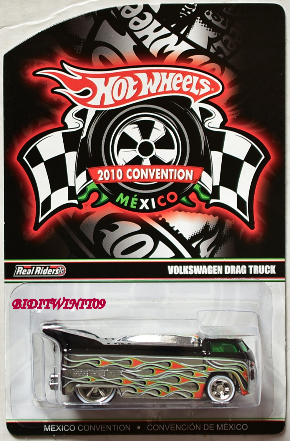 HOT WHEELS 2010 CONVENTION MEXICO VOLKSWAGEN DRAG TRUCK BLACK E+