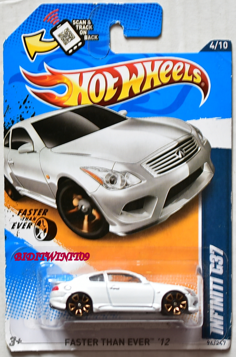 HOT WHEELS 2012 FASTER THAN EVER INFINITI G37 #4/10 WHITE
