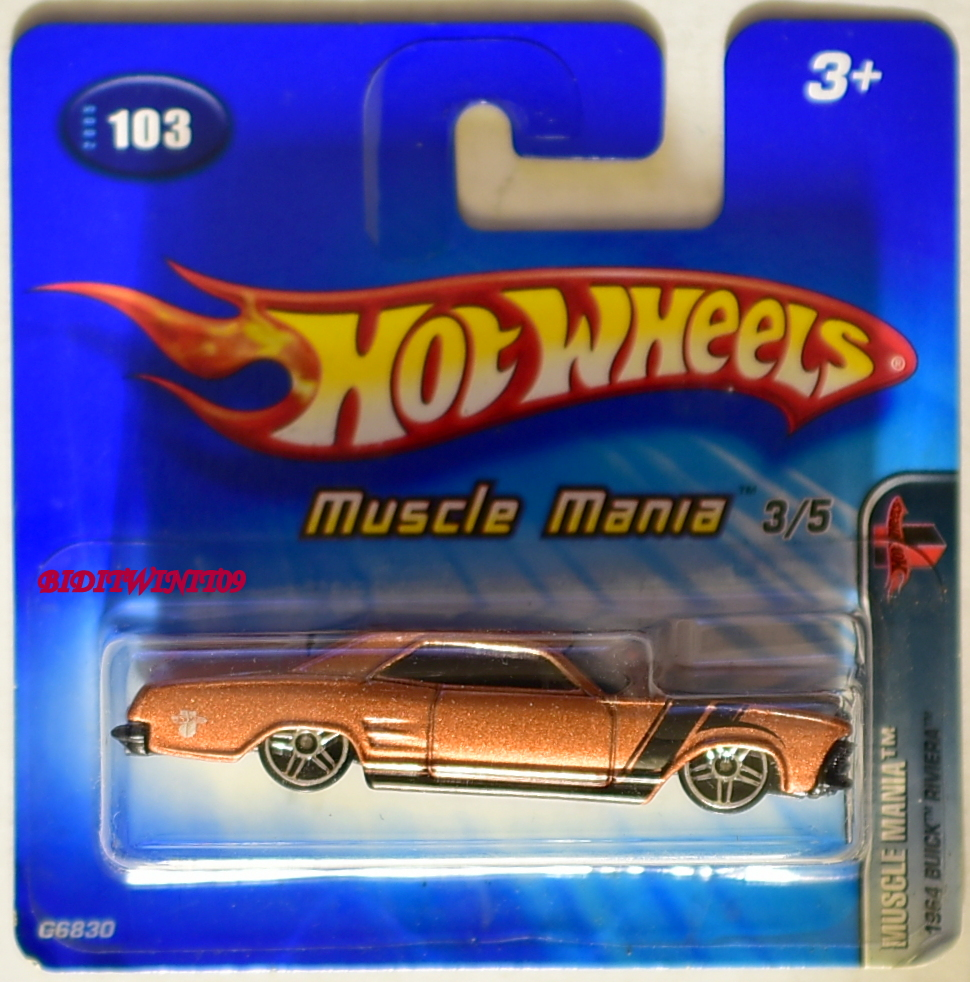 HOT WHEELS 2005 MUSCLE MANIA 1964 BUICK RIVIERA #103 SHORT CARD