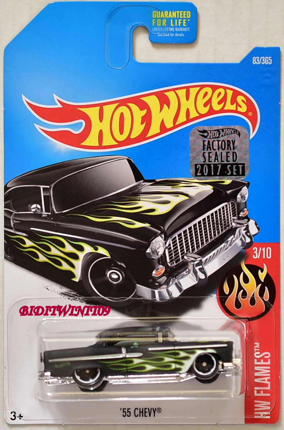 HOT WHEELS 2017 HW FLAMES '55 CHEVY #3/10 BLACK FACTORY SEALED