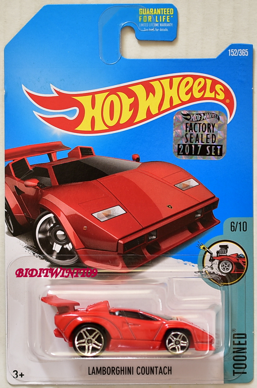Hot Wheels 2017 Tooned Lamborghini Countach Red Factory Sealed