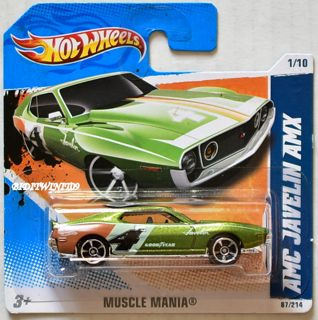 HOT WHEELS 2011 MUSCLE MANIA AMC JAVELIN AMX #1/10 GREEN SHORT CARD