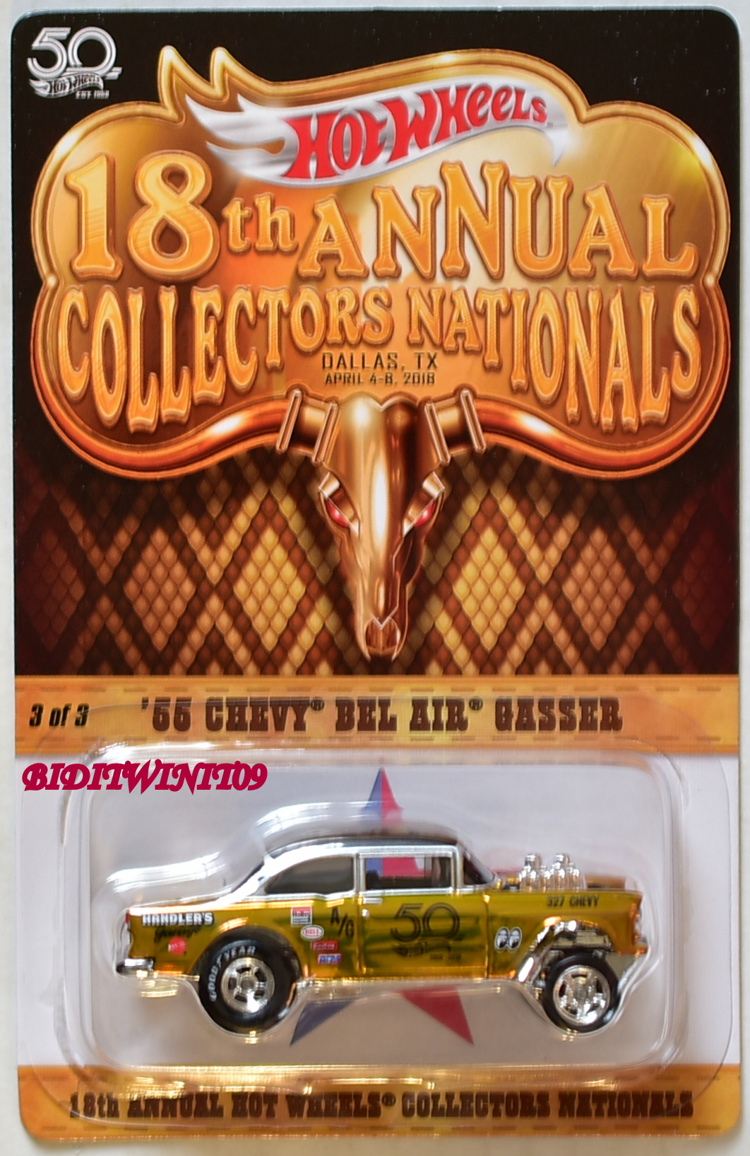 HOT WHEELS 2018 18th NATIONAL CONVENTION '55 CHEVY BEL AIR GASSER #3040/3500 E+