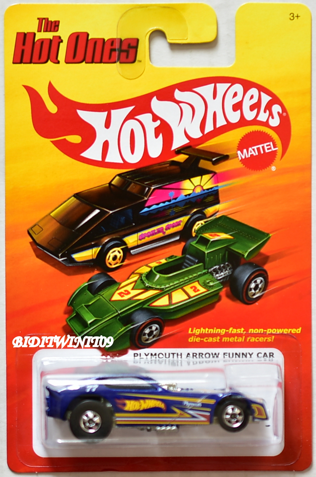 HOT WHEELS THE HOT ONES PLYMOUTH ARROW FUNNY CAR BLUE E+