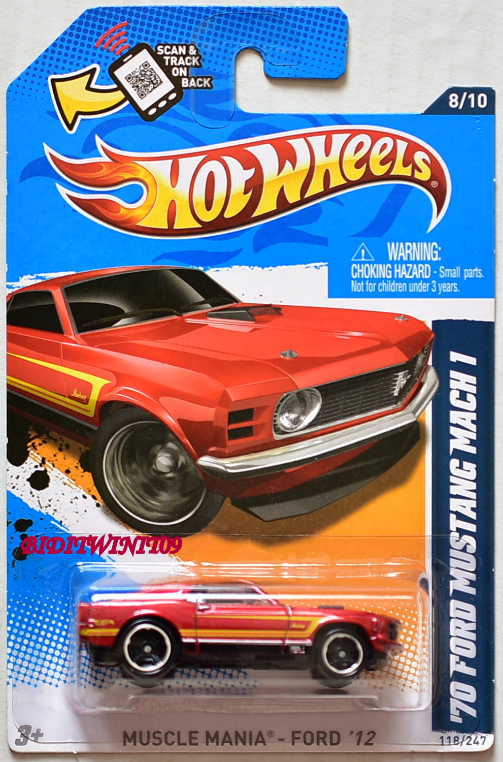 HOT WHEELS 2012 MUSCLE MANIA- FORD '70 FORD MUSTANG MACH 1 RED E+