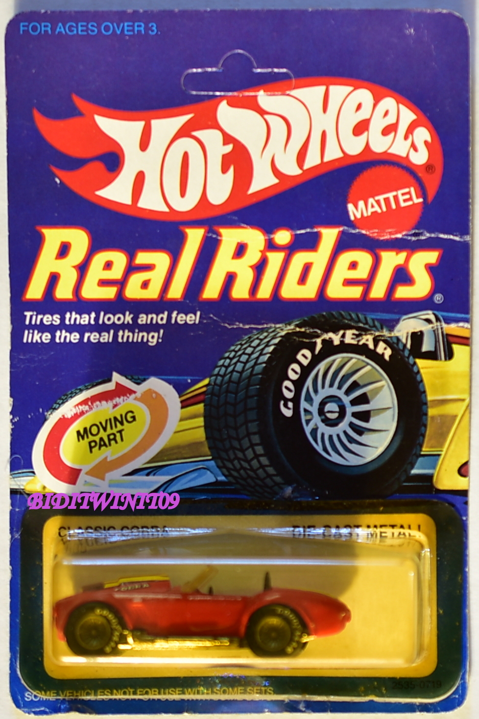 HOT WHEELS 1982 CLASSIC COBRA REAL RIDERS RED BAD CARD W/ LARRY WOOD STICKER E+