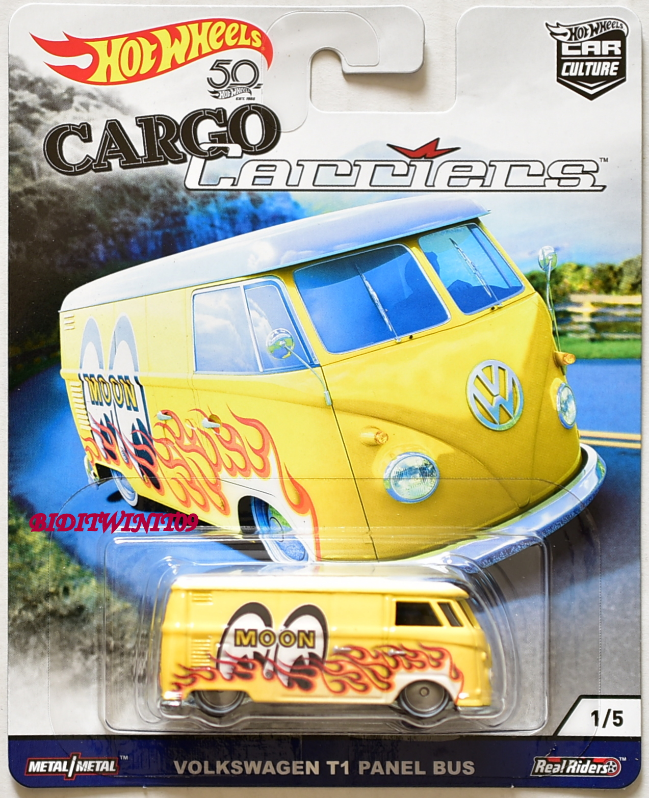 HOT WHEELS 2018 CAR CULTURE CARGO CARRIERS VOLKSWAGEN T1 PANEL BUS MOONEYES