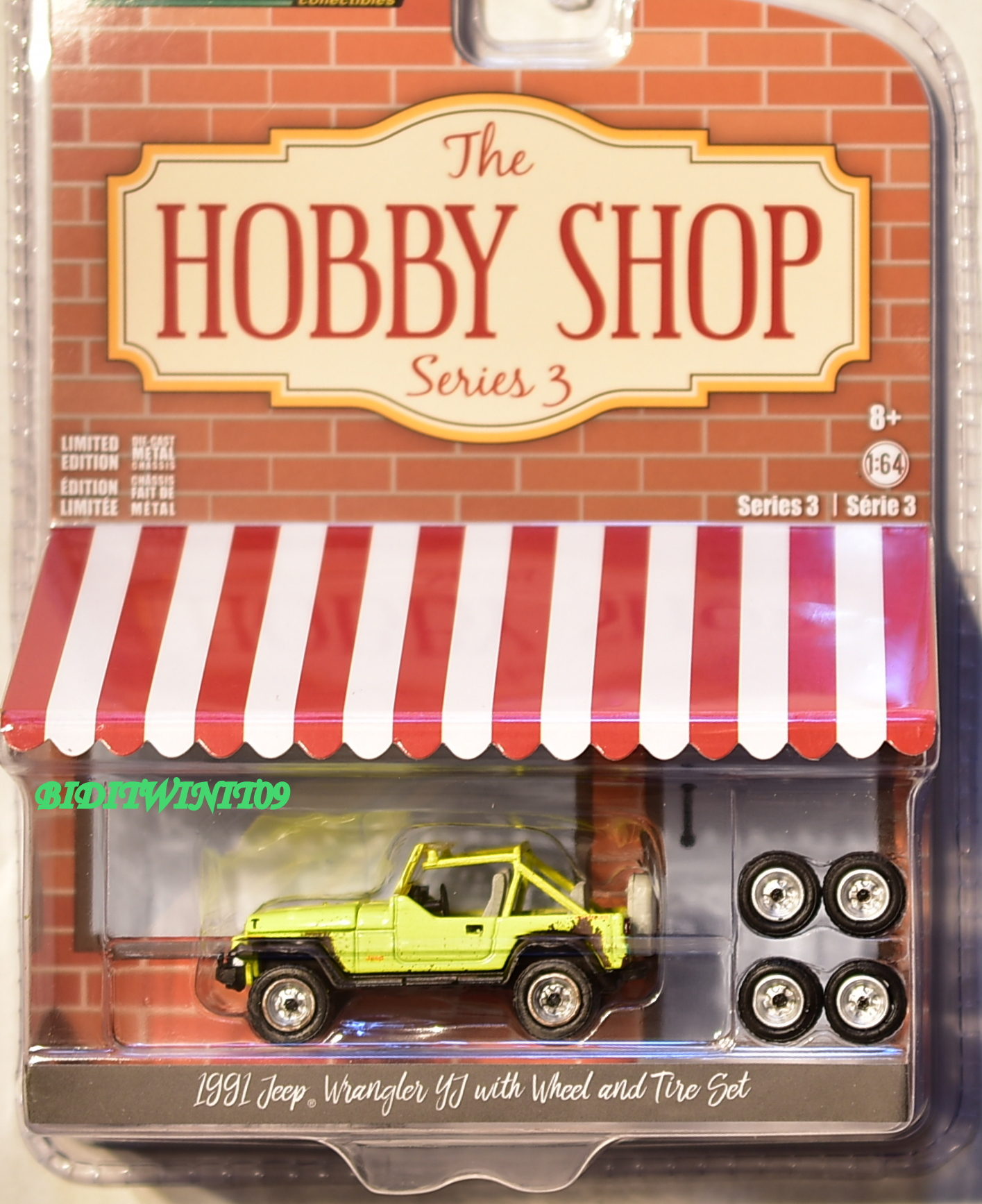 GREENLIGHT 2018 HOBBY SHOP 1991 JEEP WRANGLER YJ WITH WHEEL AND TIRE SET