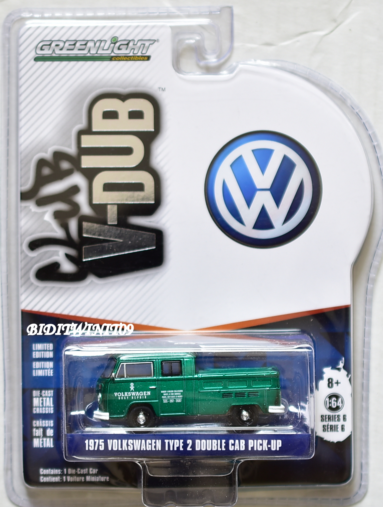 GREENLIGHT CLUB V-DUB GREEN MACHINE 1975 VOLKSWAGEN TYPE 2 DOUBLE CAB PICK-UP E+
