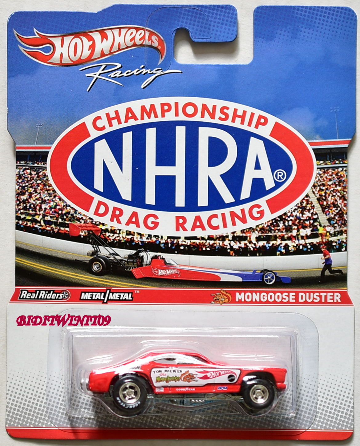 HOT WHEELS 2012 RACING NHRA CHAMPIONSHIP DRAG RACING MONGOOSE DUSTER E+