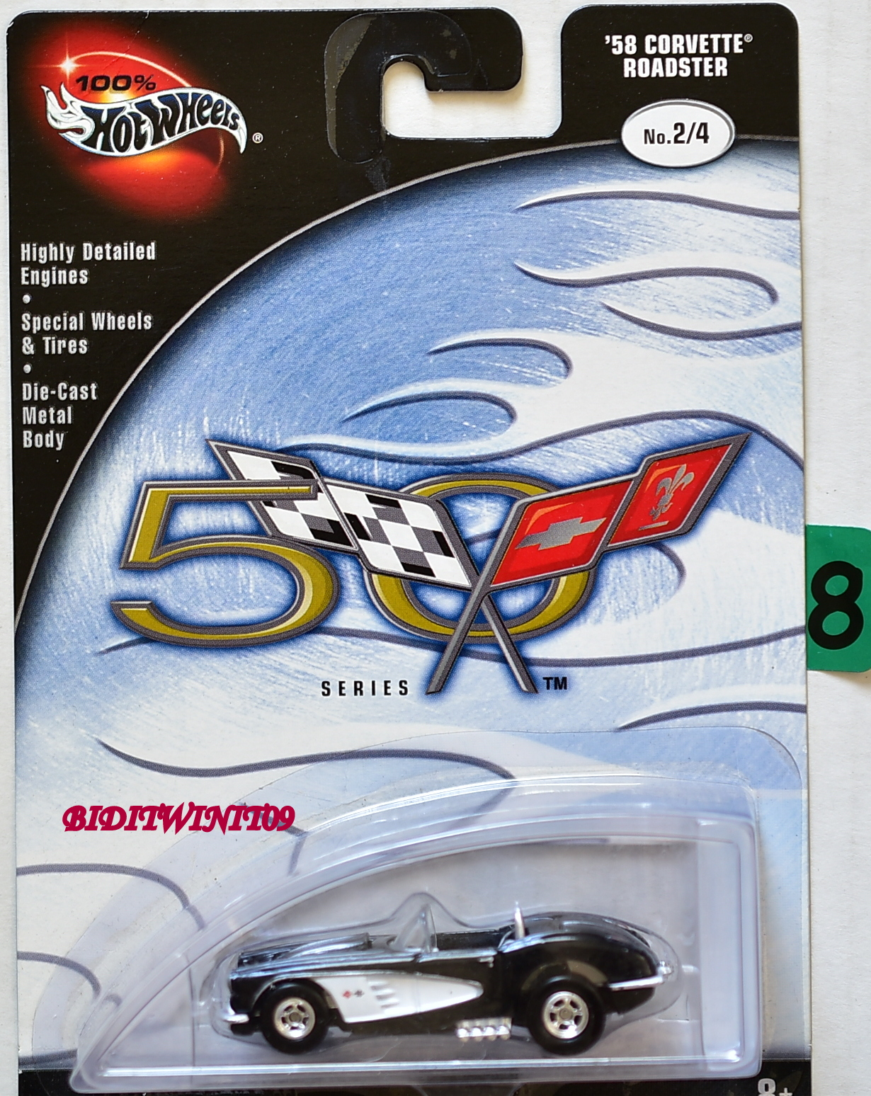 100% HOT WHEELS 50 ANNIVERSARY '58 CORVETTE ROADSTER #2/4 BLACK