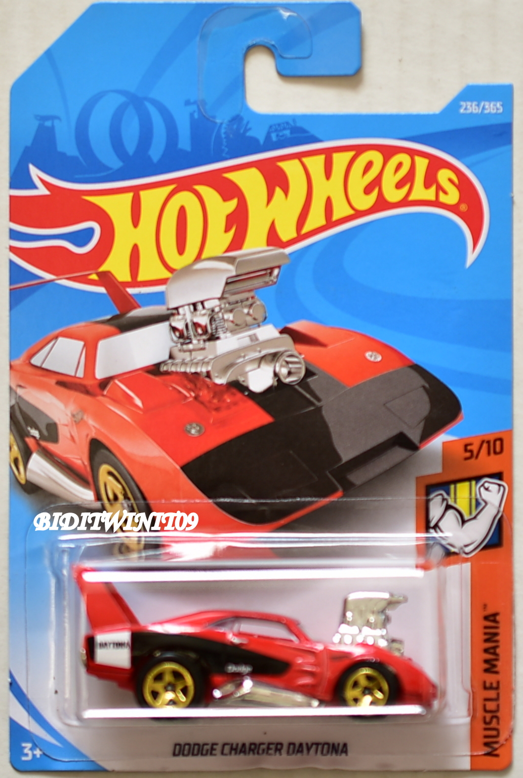 HOT WHEELS 2018 MUSCLE MANIA DODGE CHARGER DAYTONA #5/10 RED