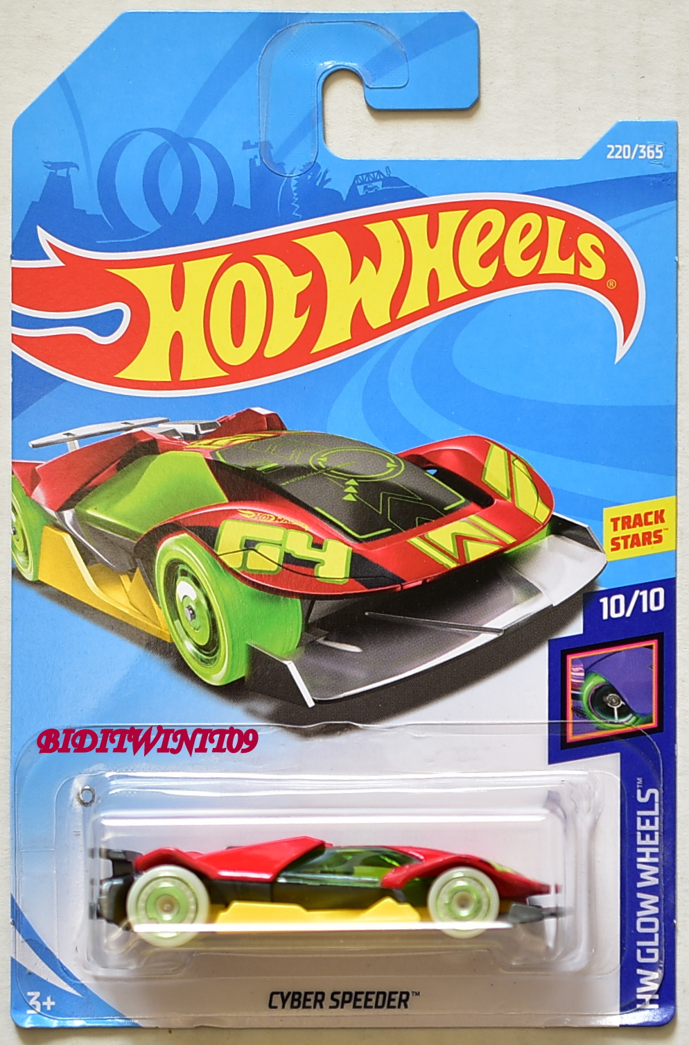 HOT WHEELS 2018 HW GLOW WHEELS CYBER SPEEDER RED