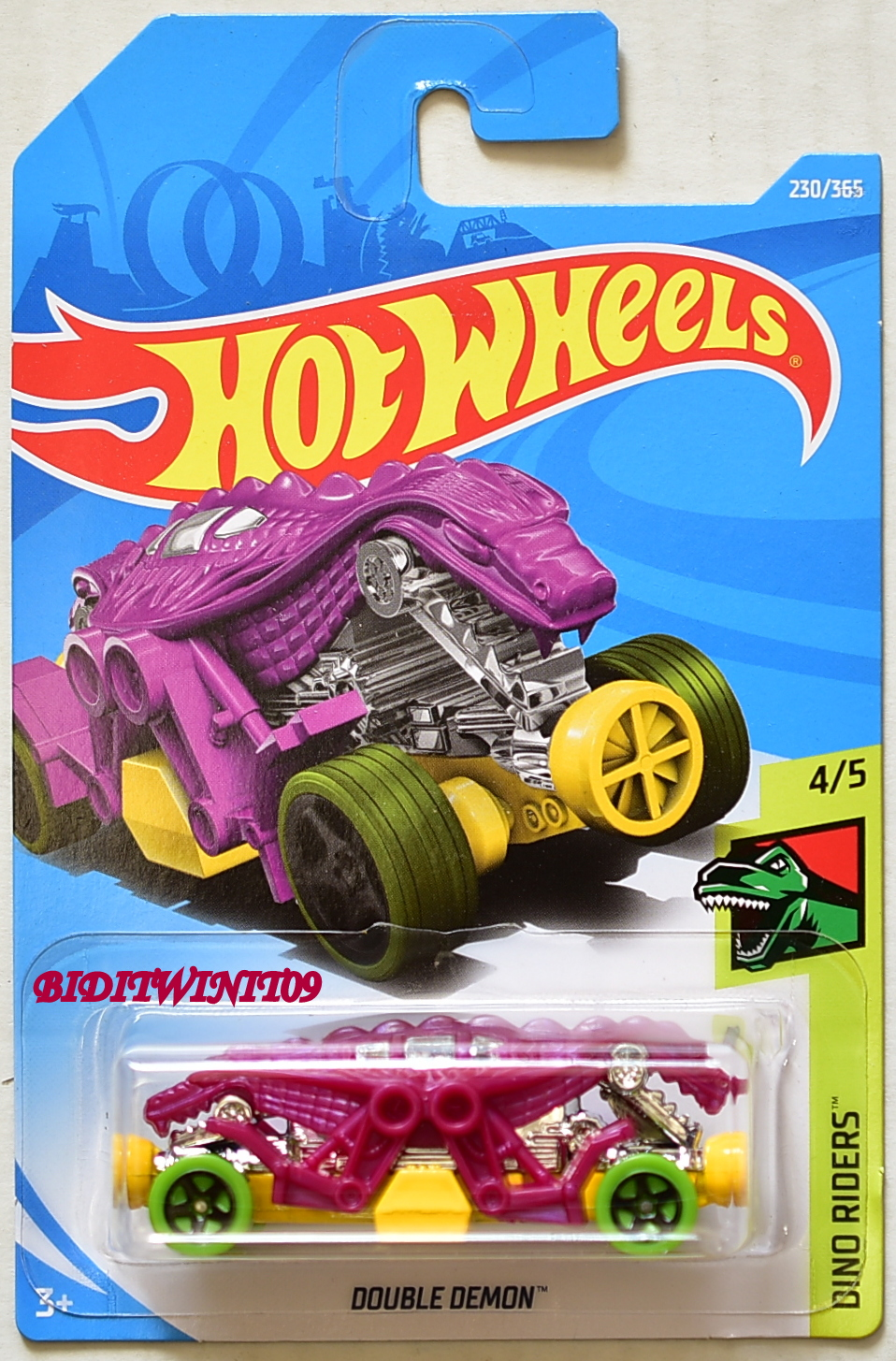 HOT WHEELS 2018 DINO RODERS DOUBLE DEMON PURPLE