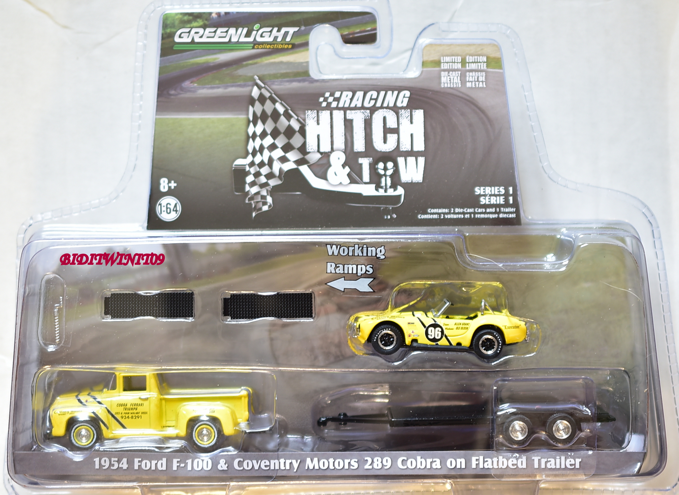 GREENLIGHT 1954 FORD F-100 & COVENTRY MOTORS 289 COBRA ON FLATBED TRAILER