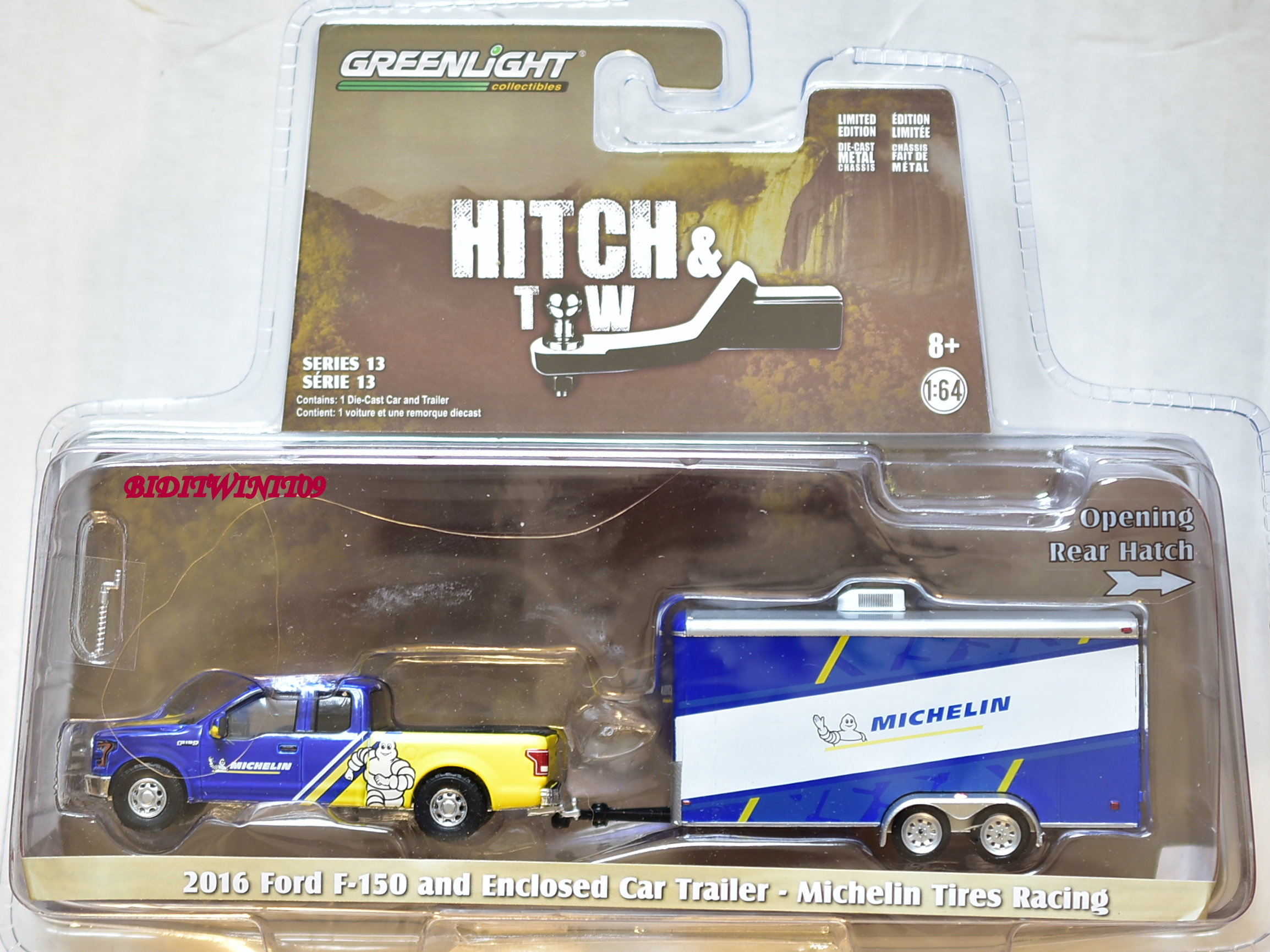 GREENLIGHT 2016 FORD F-150 AND ENCLOED CAR TRAILER - MICHELIN TIRES RACING