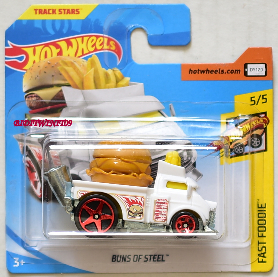 HOT WHEELS 2018 FAST FOODIE BUNS OF STEEL WHITE SHORT CARD