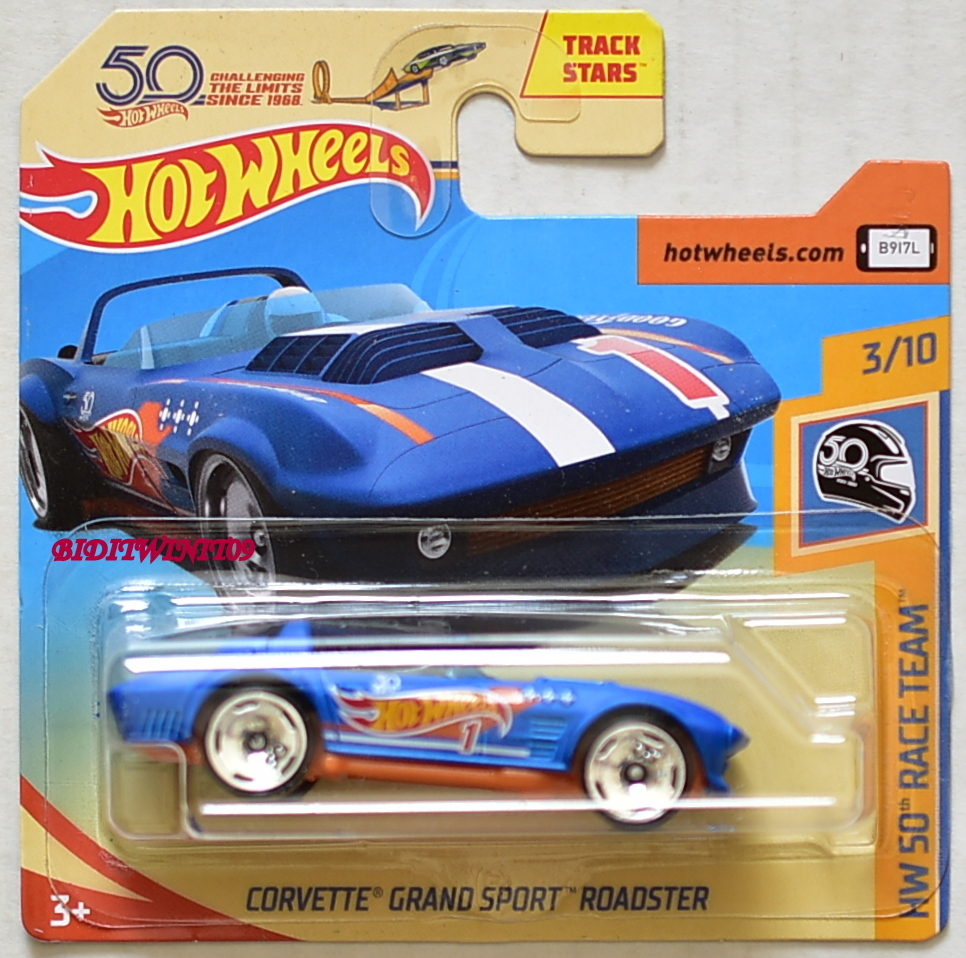 HOT WHEELS 2018 HW 50TH RACE TEAM CORVETTE GRAND SPORT ROADSTER SHORT CARD E+