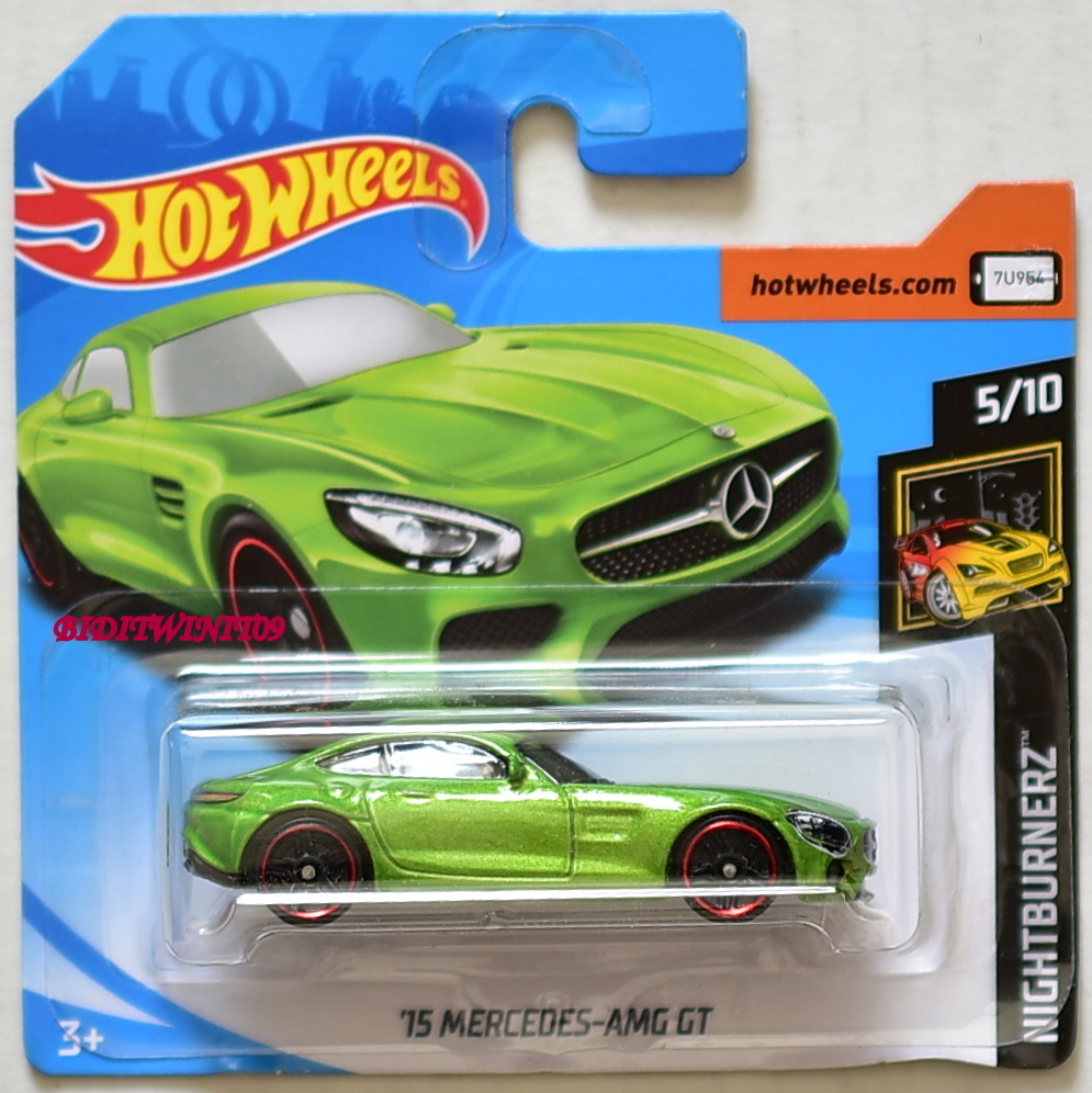 HOT WHEELS 2018 NIGHTBURNERZ 15 MERCEDES - AMG GT GREEN SHORT CARD