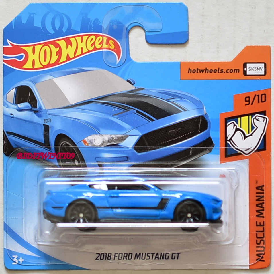 HOT WHEELS 2018 MUSCLE MANIA 2018 FORD MUSTANG GT BLUE SHORT CARD