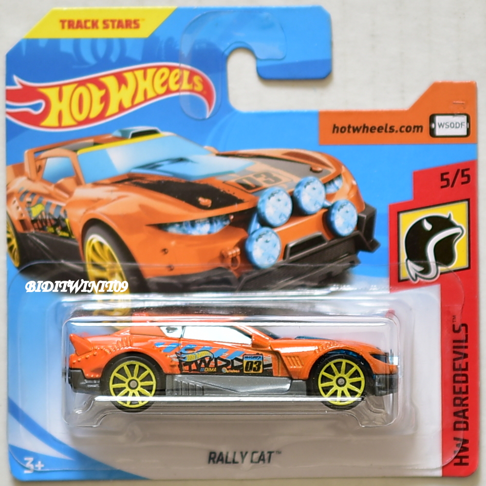 HOT WHEELS 2018 HW DAREDEVILS RALLY CAT ORANGE SHORT CARD