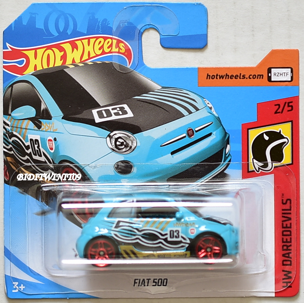 HOT WHEELS 2018 HW DAREDEVILS FIAT 500 TURQUOISE SHORT CARD