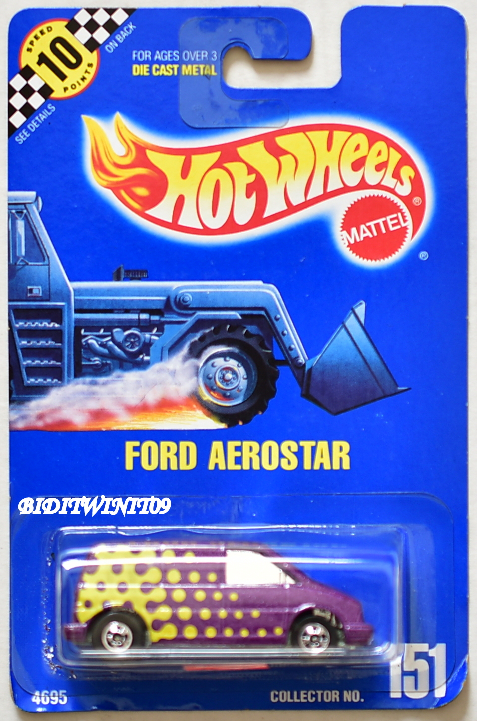 HOT WHEELS 1991 BLUE CARD FORD AEROSTAR #151 PURPLE - Click Image to Close