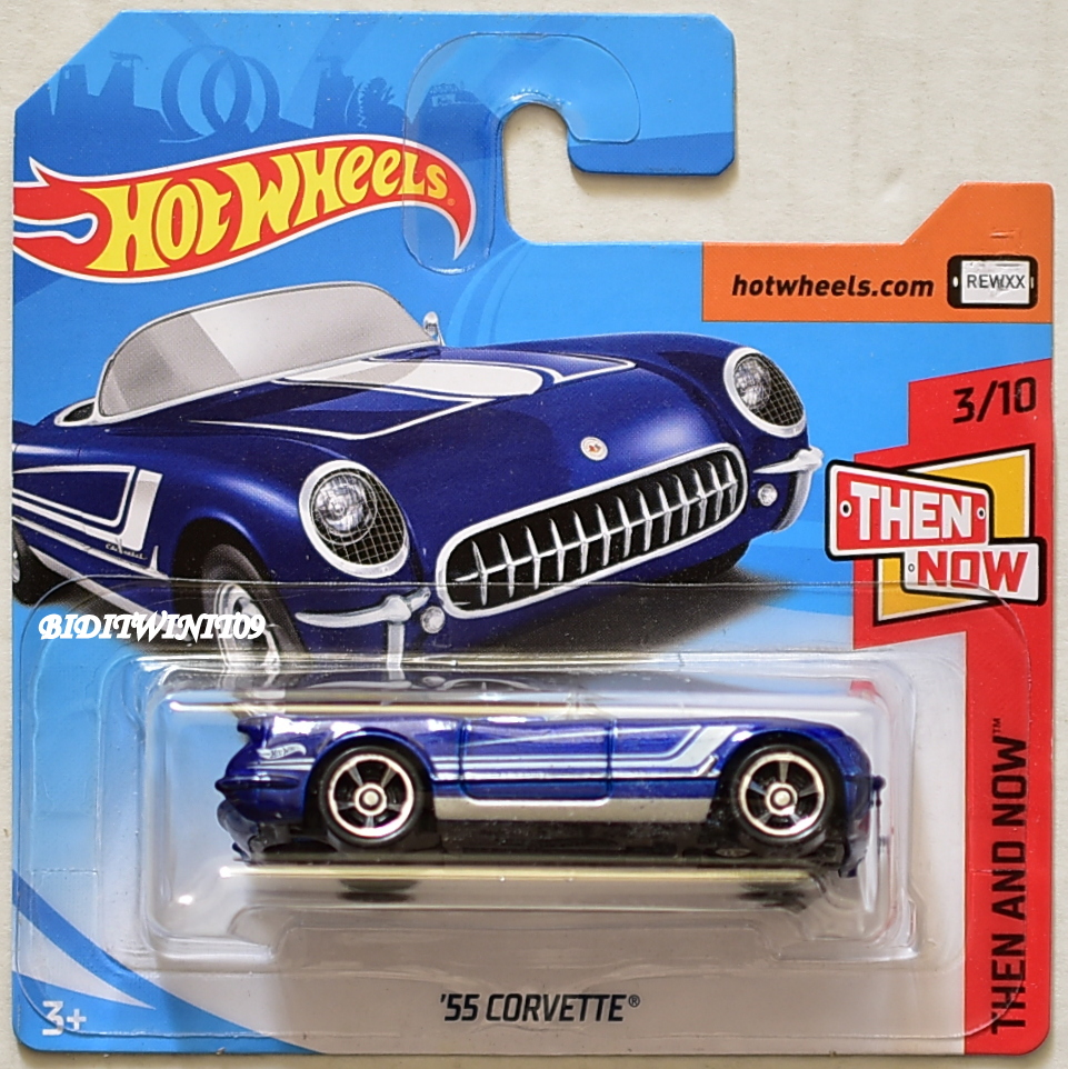 HOT WHEELS 2018 THEN AND NOW '55 CORVETTE #3/10 BLUE SHORT CARD