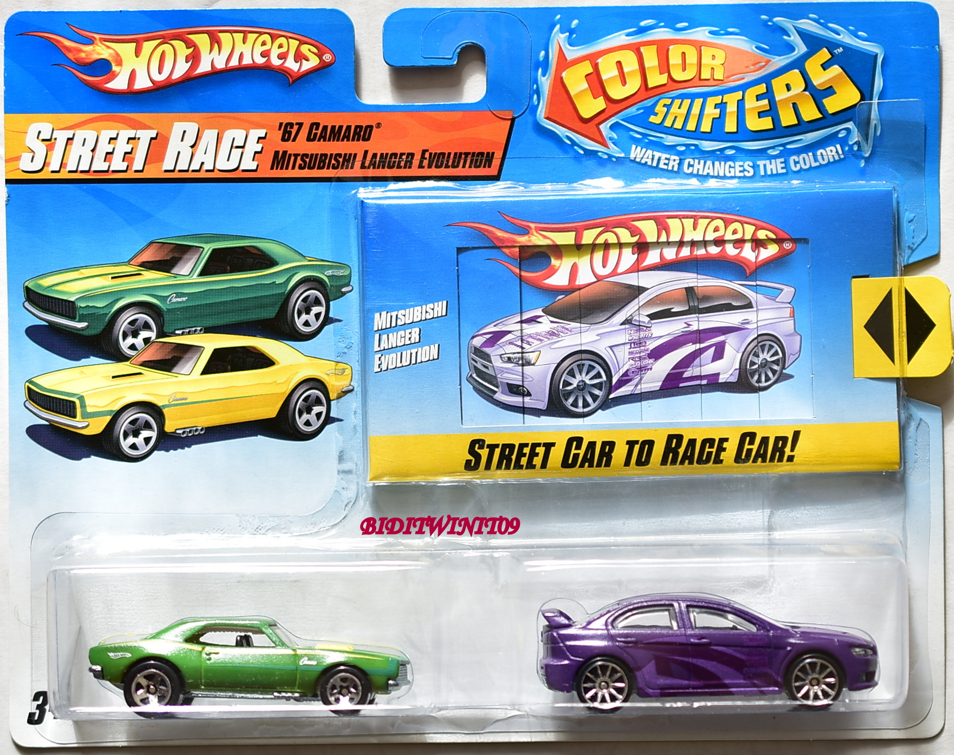 HOT WHEELS COLOR SHIFTERS STREET RACE '67 CAMARO - MITSUBISHI LANCER 2 PACK E+