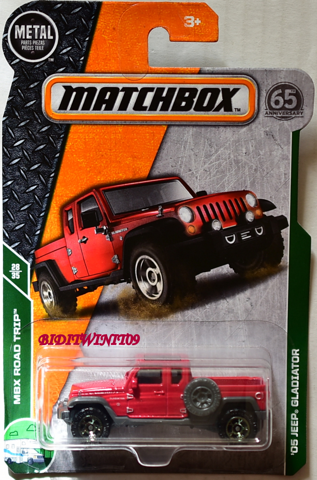 MATCHBOX 2018 MBX ROAD TRIP '05 JEEP GLADIATOR RED