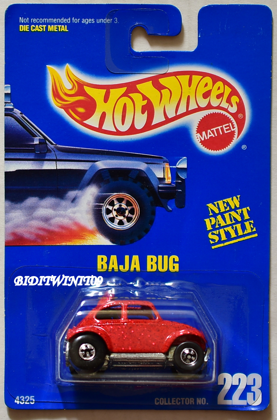 HOT WHEELS 1991 BLUE CARD BAJA BUG #223 RED 02