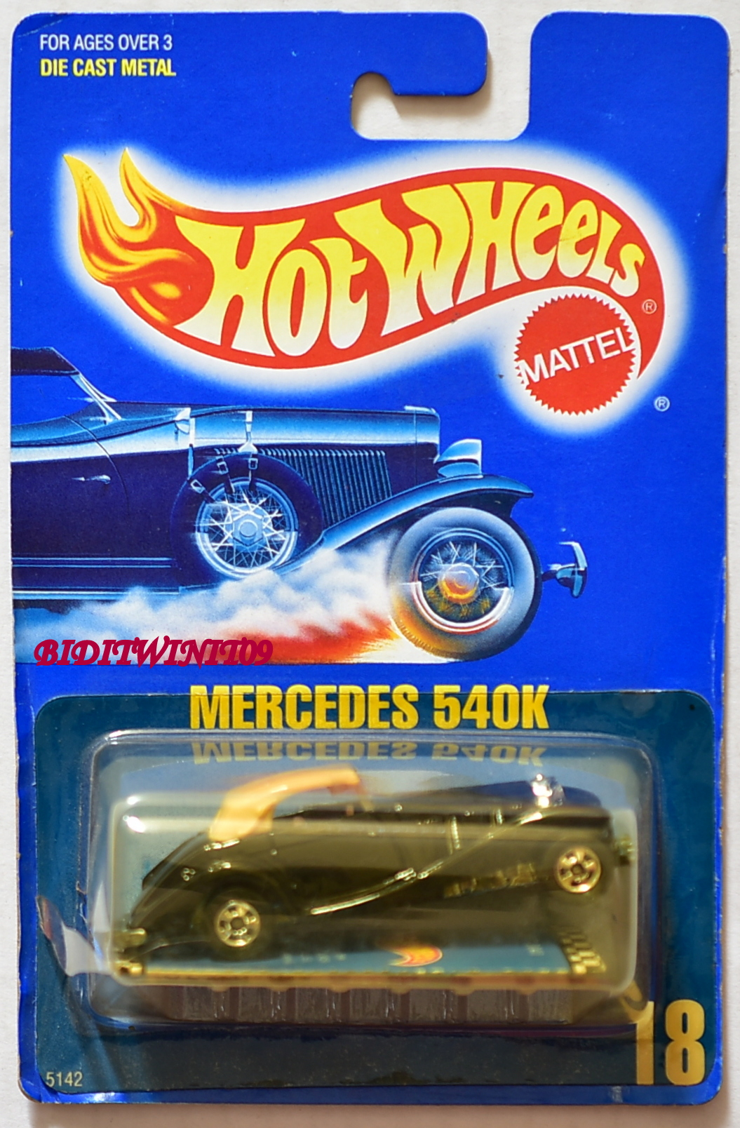 HOT WHEELS 1989 BLUE CARD MERCEDES 540K #18 03 E+