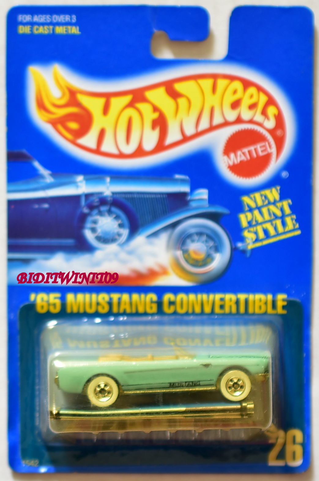 HOT WHEELS 1989 BLUE CARD '65 MUSTANG CONVERTIBLE LIGHT BLUE W/ TAN INTERIOR 03