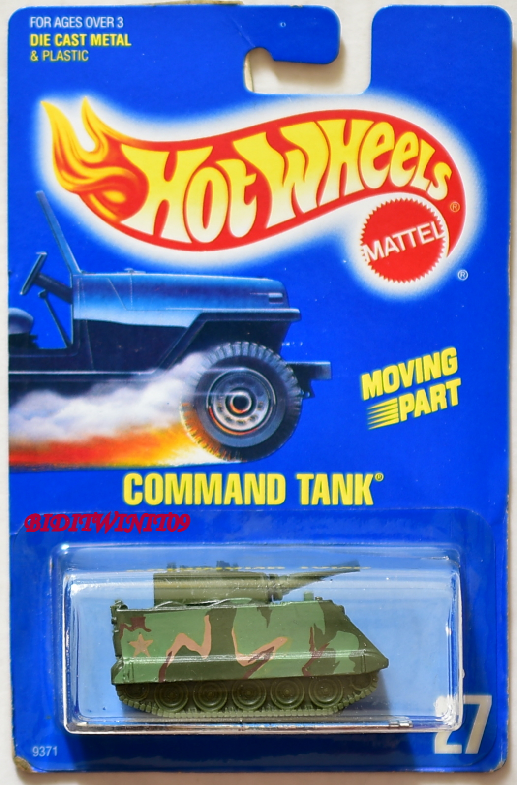 HOT WHEELS 1989 BLUE CARD COMMAND TANK #27 03 E+