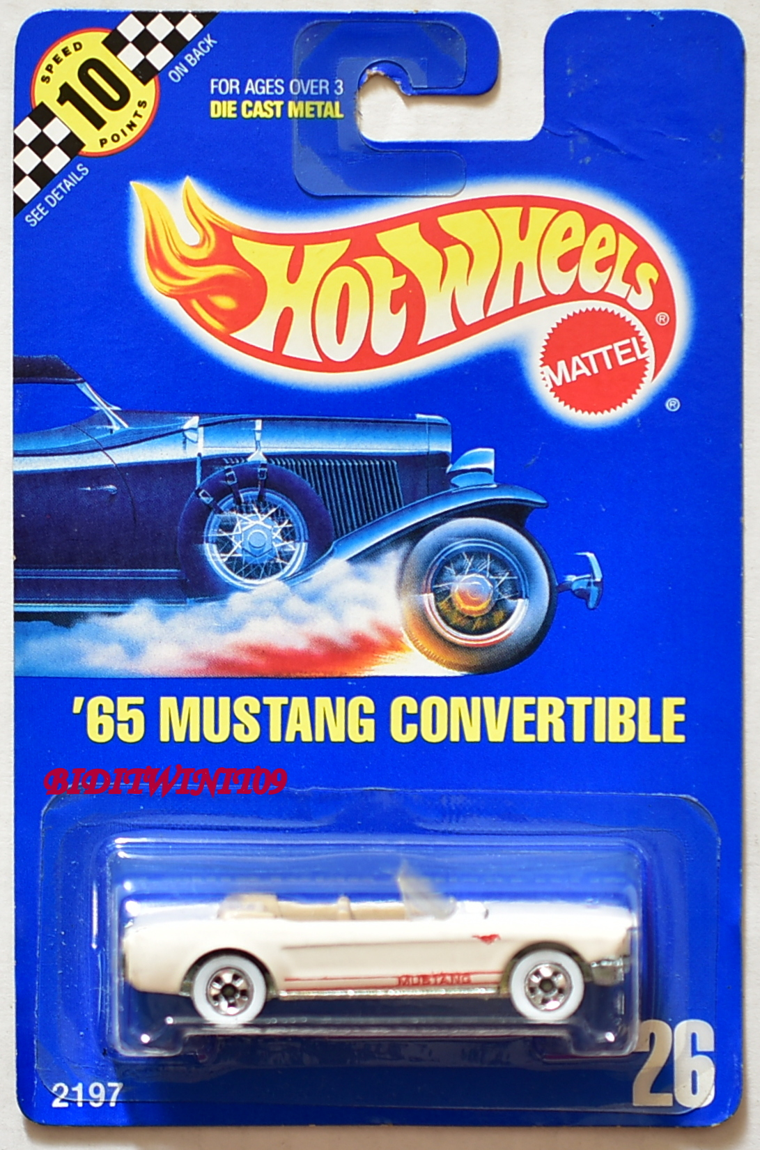 HOT WHEELS 1990 BLUE CARD '65 MUSTANG CONVERTIBLE #26 WHITE 03 E+