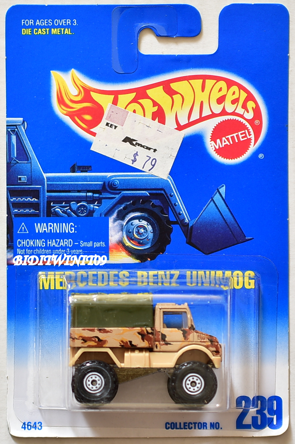HOT WHEELS 1991 BLUE CARD MERCEDES-BENZ UNIMOG #239 04