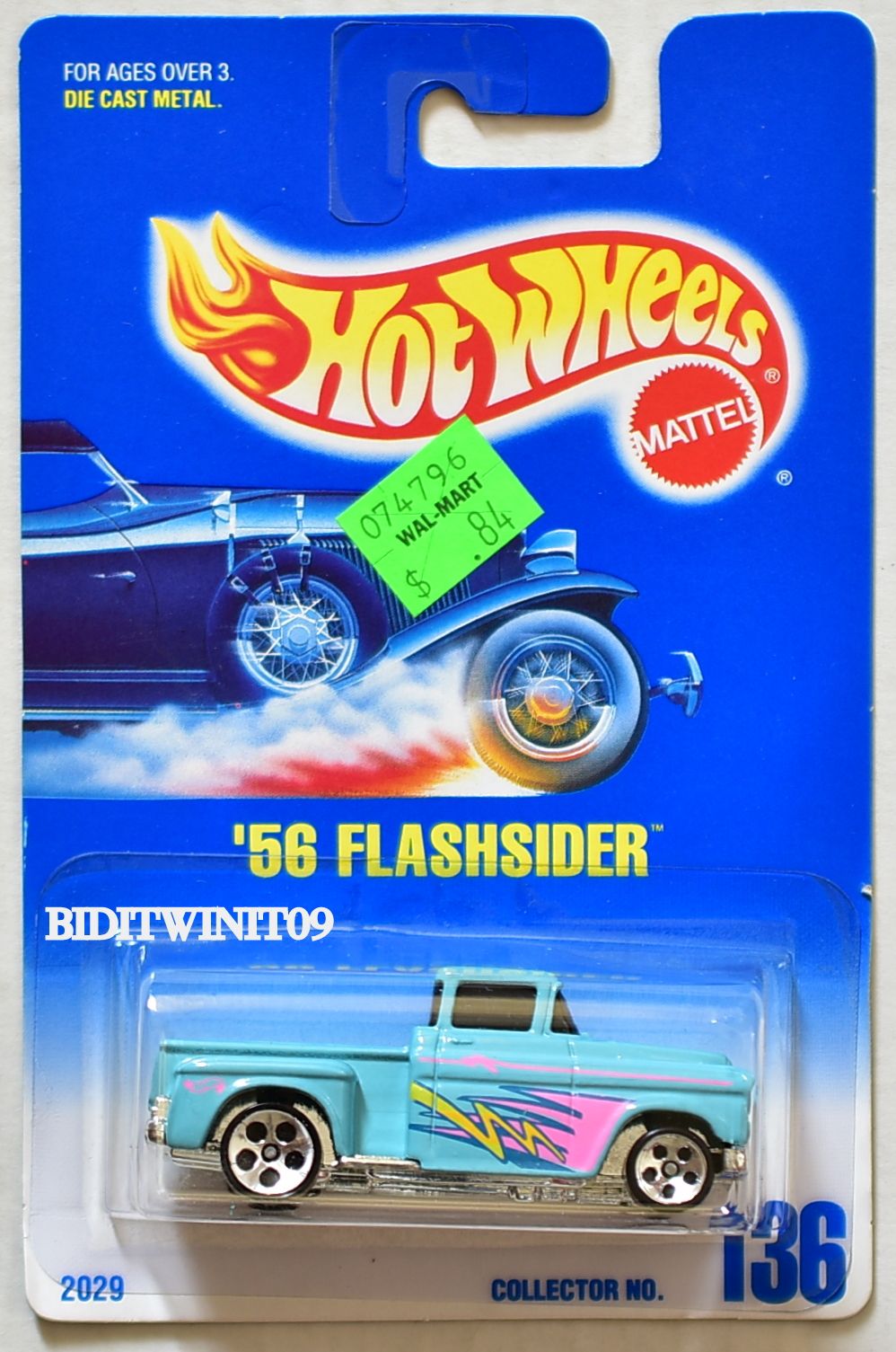 HOT WHEELS 1990 BLUE CARD '56 FLASHSIDER #136 W/ 5 HOLE WHEELS 07
