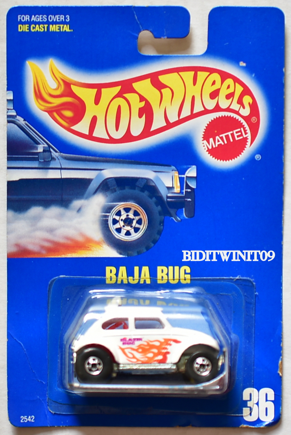 HOT WHEELS 1989 BLUE CARD BAJA BUG #36 WHITE BAD CARD