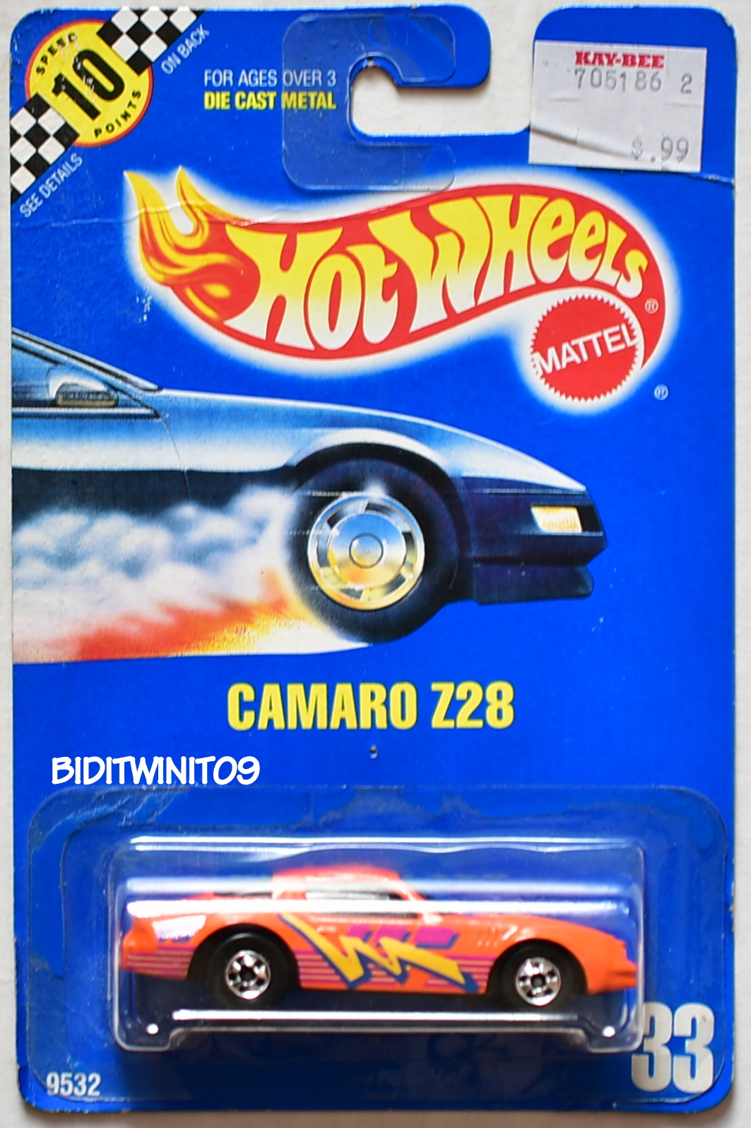 HOT WHEELS 1990 BLUE CARD CAMARO Z28 #33 ORANGE