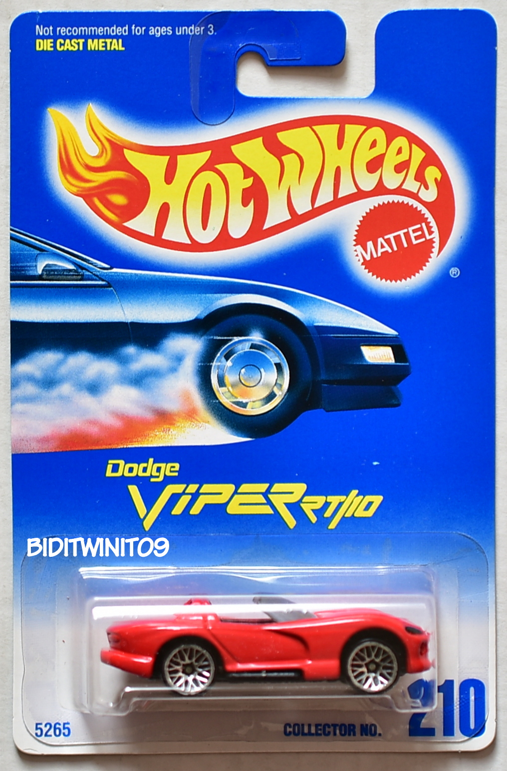 HOT WHEELS 1991 BLUE CARD DODGE VIPER RT/10 #210 RED 09