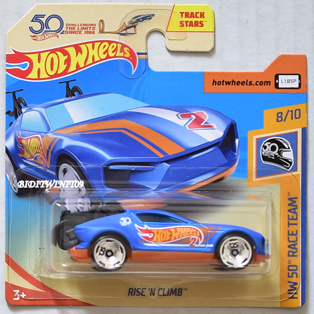 HOT WHEELS 2018 HW 50TH RACE TEAM RISE'N CLIMB BLUE SHORT CARD