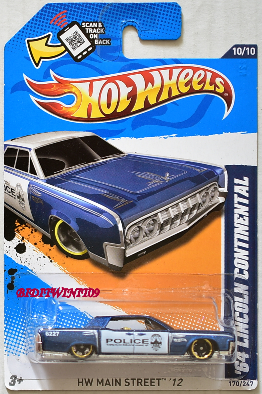 HOT WHEELS 2012 HW MAIN STREET 64 LINCOLN CONTINENTAL POLICE